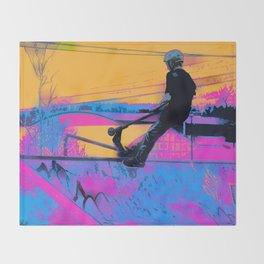 On Edge -  Stunt Scooter Artwork Throw Blanket