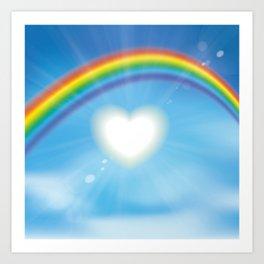 Rainbow sky sun heart Art Print