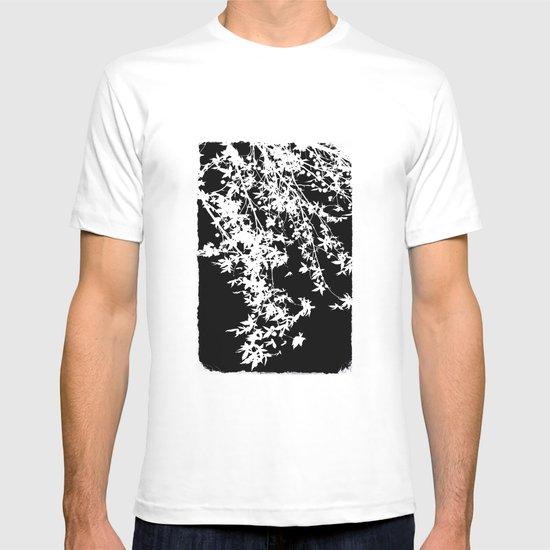 white on black T-shirt