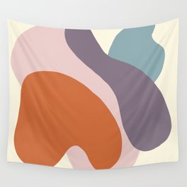 Matte pastel color blobs - abstract shapes - Matisse inspired, Purple, Petroleum,Terracotta , Pink,  Wall Tapestry