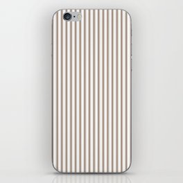 Mattress Ticking Narrow Striped Pattern in Chocolate Brown and White iPhone Skin