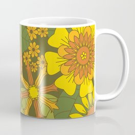 Orange, Brown, Yellow and Green Retro Daisy Pattern Coffee Mug