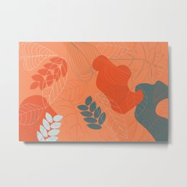 Abstract outline foliage pattern Metal Print