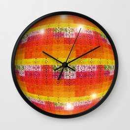High Definition Retro Disco Ball Orange Pattern Wall Clock