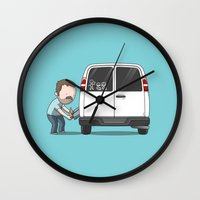 sticker Wall Clocks featuring Family Car Sticker by See Mike Draw