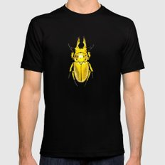 Yellow Japanese Stag Beetle MEDIUM Black Mens Fitted Tee