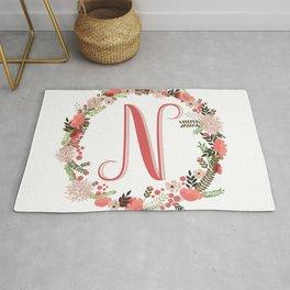 Personal monogram letter 'N' flower wreath Rug