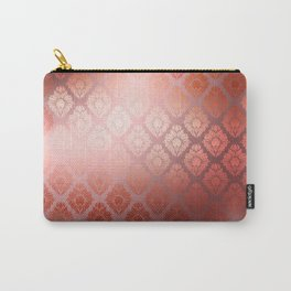 """Millennial Pink Damask Pattern"" Carry-All Pouch"