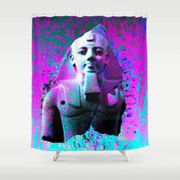 egyptian Shower Curtains featuring digital Egyptian  by seb mcnulty