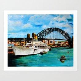 SS Orsova Alongside Circular Quay, Sydney Art Print