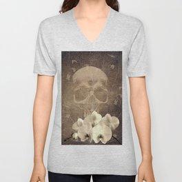Skull Human Vintage Flowers Digital Collage Unisex V-Neck