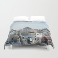 greece Duvet Covers featuring Greece Villas by Limitless Design