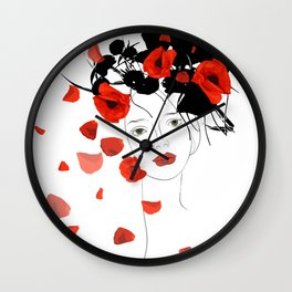 girl poppy red Wall Clock