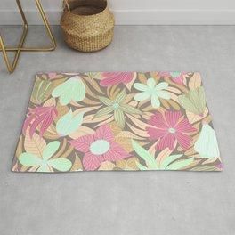 Pink Green Olive Floral Illustration Pattern Rug