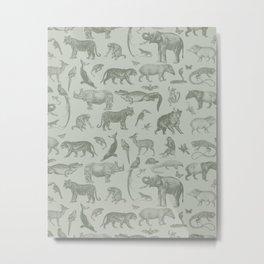 Tropical Animals Vintage Illustration Pattern II Metal Print