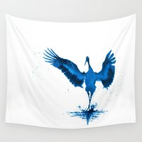 crane Wall Tapestries featuring Blue Crane by Ariouk
