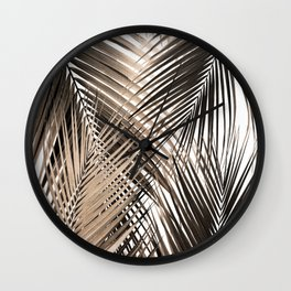 Golden Brown Palm Leaves Dream - Cali Summer Vibes #1 #tropical #decor #art #society6 Wall Clock