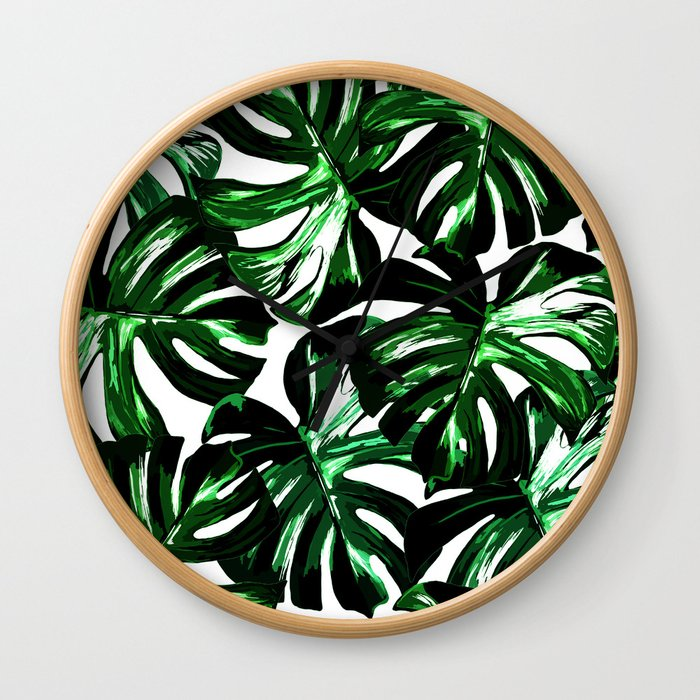 Monstera Jungle Leaf Wall Clock