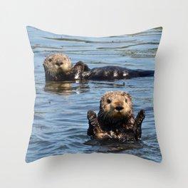 sea otter hello Throw Pillow