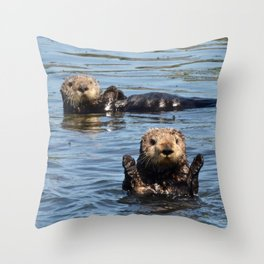sea otter hello Throw Pillow