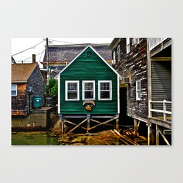Watery Green Shack Canvas Print