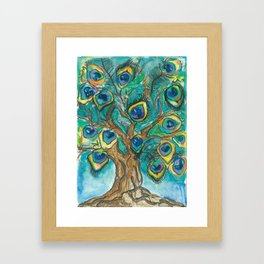 A Plummage of Possibility Peacock Tree Framed Art Print