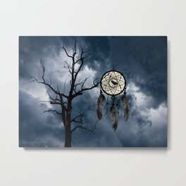 Black Bird Crow Tree Dream Catcher Night Moon A082 Metal Print