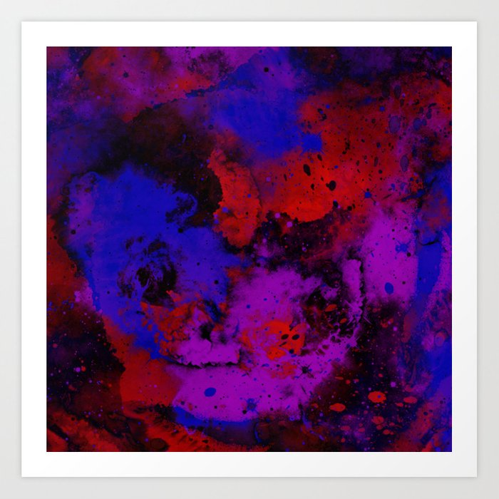 Colour Warfare Abstract Red Blue Black And Purple Painting Art Print