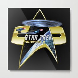 StarTrek Enterprise D Com badge Metal Print