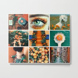 Dark Green and Orange Summer Moodboard Metal Print