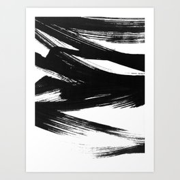 Gestural Abstract Black and White Brush Strokes Art Print