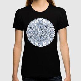 Indigo, Navy Blue and White Calligraphy Doodle Pattern T-shirt