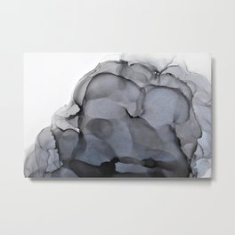 Black Smoke Alcohol Ink Composition Metal Print