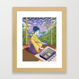 A Girl and Her Bento Framed Art Print