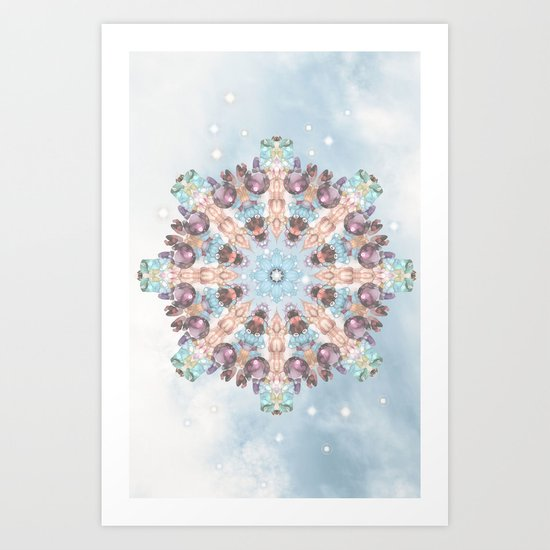 Subtle Pastel Mandala Art Print