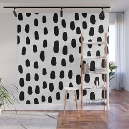 Spots black and white minimal dots pattern basic nursery home decor patterns Wall Mural