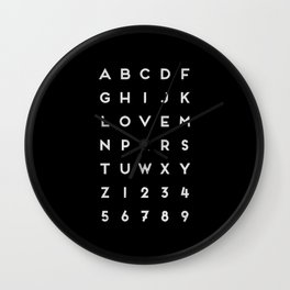 Letter Love - Black Wall Clock