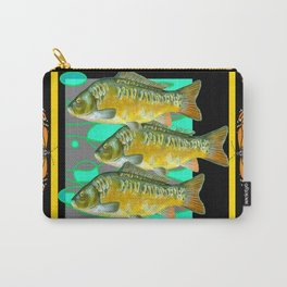 MODERN  MONARCH BUTTERFLIES FISH BLACK  AQUATIC  COLLAGE Carry-All Pouch