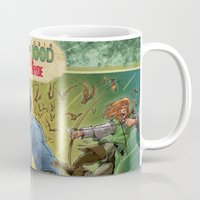 robin hood Mugs featuring DRACULA VS. ROBIN HOOD VS. JEKYLL & HYDE! by Eco Comics
