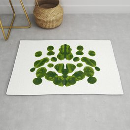 Organic Green Inkblot Bubble Pattern Rug