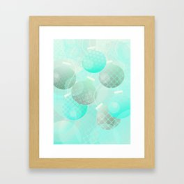 Silver and Mint Blue Christmas Ornaments Framed Art Print