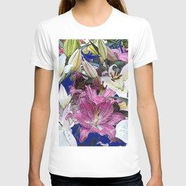 PURPLE & WHITE ASIAN GARDEN LILIES DRAWING T-shirt