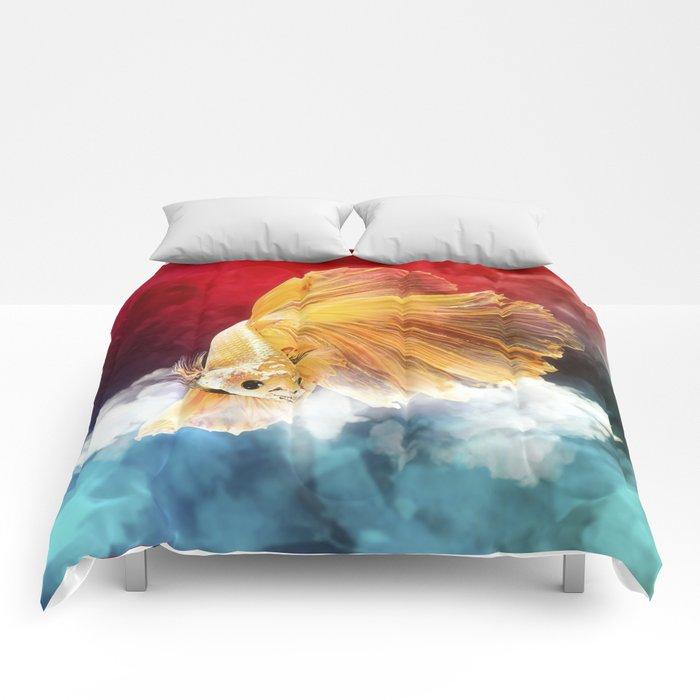 Cloud Fish on Watercolor Comforters
