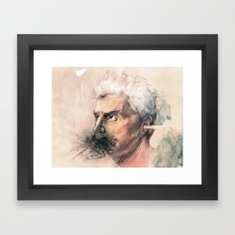 I'm a real live wire. - David Byrne Portrait Framed Art Print