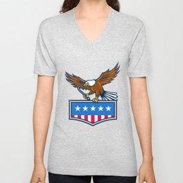 American Eagle Towing J Hook USA Flag Retro Unisex V-Neck