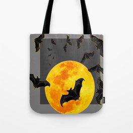 GREY HALLOWEEN BAT MIGRATION TO  MOON ART Tote Bag