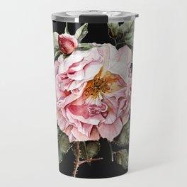 Wilting Pink Rose Watercolor on Charcoal Black Travel Mug