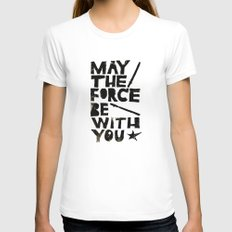 May the Force be with You - Linocut Star Wars Movie Poster White SMALL Womens Fitted Tee
