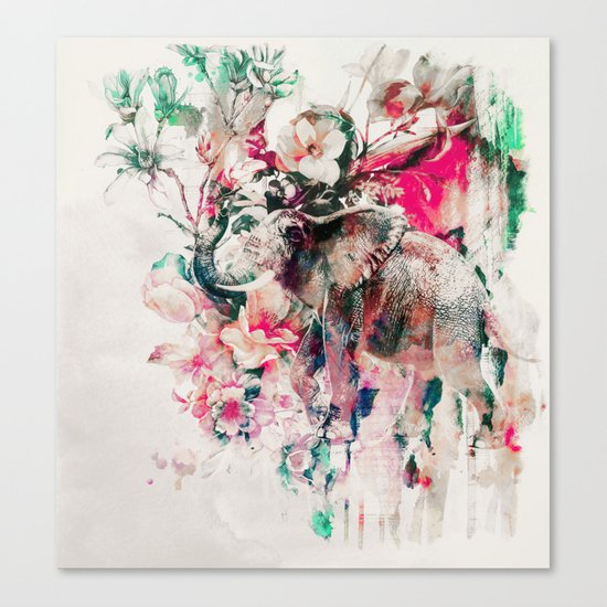Watercolor Elephant and Flowers Canvas Print