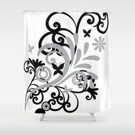 Butterfly Flourish GRY Shower Curtain